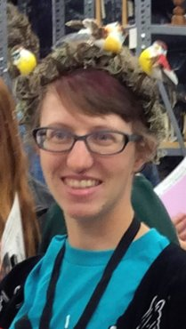 Stephanie Malinich with bird crown